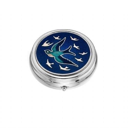 Large Pill Box Silver Plated Swallow Swallows in Flight Blue Brand New & Boxed